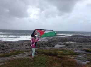 Palestinian flag in Norwegian hurricane